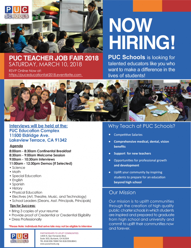 puc schools puc teacher job fair 2018